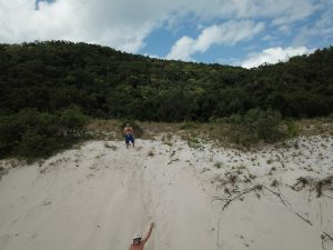 Keith and Paul on the sand dunes at Chalkies Beach Haselwood Island, Whitsundays