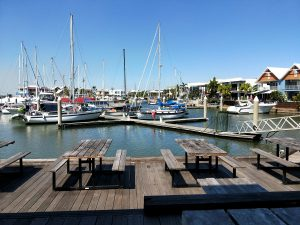 View from Frying Nemo's over Tipperary Marina, reputed to be Australia's best fish and chips.